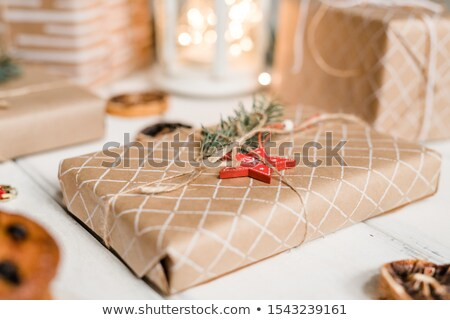 packed and wrapped giftbox with red star and conifer on top ready for christmas stock photo © pressmaster