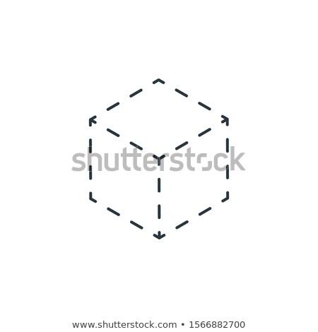 Lineáris izometrikus kocka ikon vonal vektor Stock fotó © kyryloff