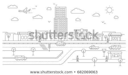 City Infrastructure, Street with Buildings and Car Stock photo © robuart