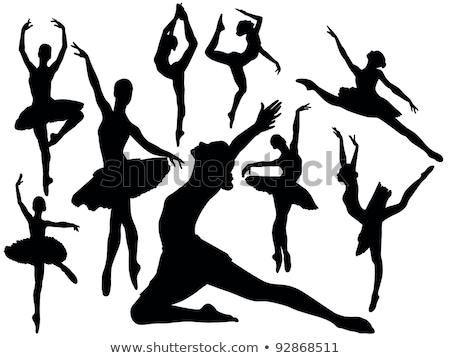 Balerin siluet ayarlamak dans poz pozisyon Stok fotoğraf © Krisdog