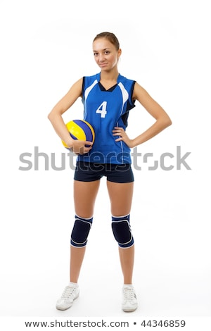 Beautilful volleyball player woman in a studio white Stock photo © Lopolo