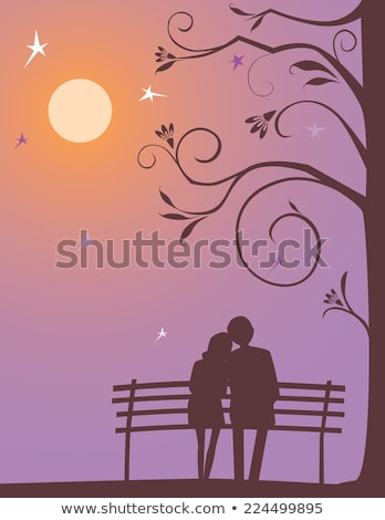 romantic couple on bench in the moonlight Stock photo © adrenalina