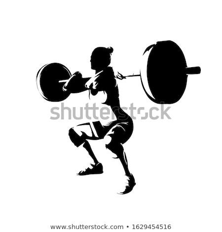 silhouette of the weight-lifter Stock photo © mayboro