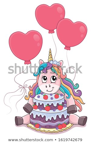 Unicorn with cake and balloons theme 4 Stock photo © clairev