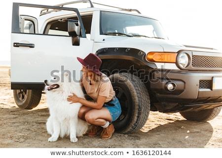 Frau kuscheln Hund Freien Strand Bild Stock foto © deandrobot