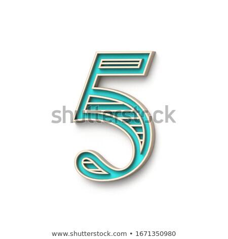 Klassiek ouderwets doopvont aantal vijf 3D Stockfoto © djmilic