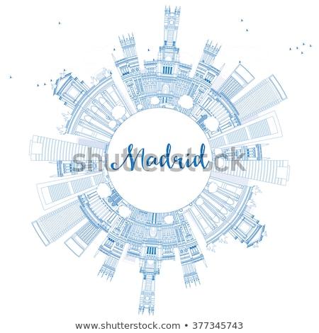 Madryt panoramę niebieski budynków kopia przestrzeń Zdjęcia stock © ShustrikS