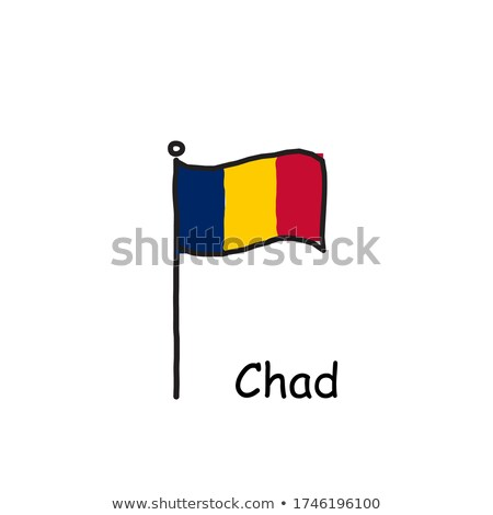Chad flag and hand on white background. Vector illustration Stock photo © butenkow