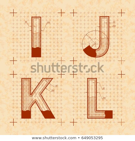 Medieval sketches of I J K L letters. Retro style font on old yellow textured paper Stock photo © evgeny89