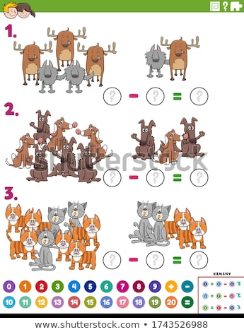 maths subtraction educational task with comic animals Stock photo © izakowski
