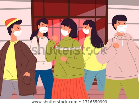 Infected virus people in mask spread bacterias in the crowd of people, break rules of self-isolation Stock photo © robuart