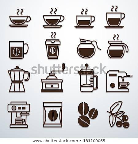 silhueta · café · pote · copo · branco · beber - foto stock © mayboro
