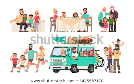 Grandparents in a car - cartoon people character vector illustration Stock photo © Decorwithme