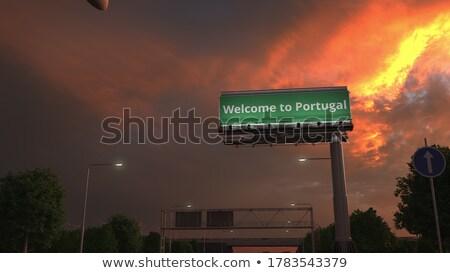 Portugália · autópálya · tábla · zöld · felhő · utca · felirat - stock fotó © kbuntu