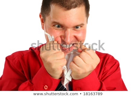 Irate man in red shirt rips sheet of paper Stock photo © Paha_L