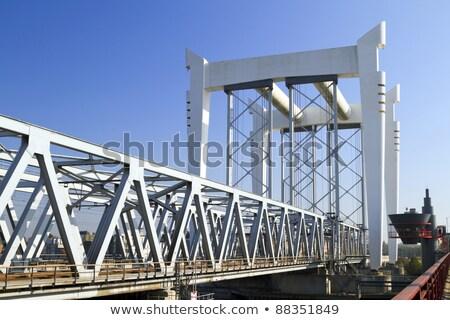 Mimari demiryolu köprü derin mavi gökyüzü inşaat Stok fotoğraf © duoduo