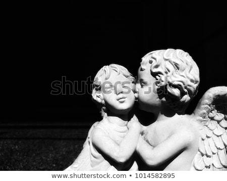 Melek gibi bahçe heykel erkek yüz Stok fotoğraf © duoduo