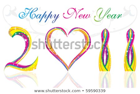 happy new year 2011 with colorful wave & heart concept  Stock photo © pathakdesigner
