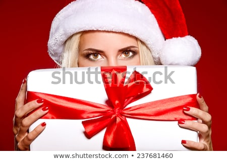 wesoły · Święty · mikołaj · pomocnik · dziewczyna · szkatułce · zdjęcie - zdjęcia stock © dolgachov