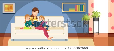 Szülők olvas esti mese lánygyermek család könyv Stock fotó © photography33