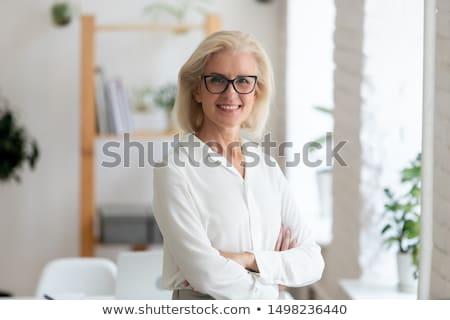 lachend · zakenvrouw · bril · top - stockfoto © stryjek