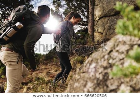 nő · kirándulás · ősz · hegyek · erdő · ül - stock fotó © photography33