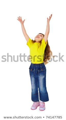Little funny girl stretched his hands up Stock photo © pzaxe
