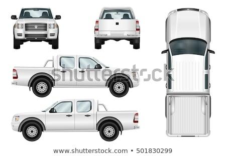 camión · plan · línea · ilustración · frente · lado - foto stock © lkeskinen