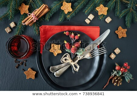 Reserved Christmas Restaurant Table Stock photo © klsbear
