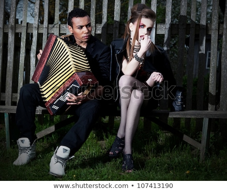 Couple With Accordion Sitting Village Countryside Serenade Zdjęcia stock © Gromovataya