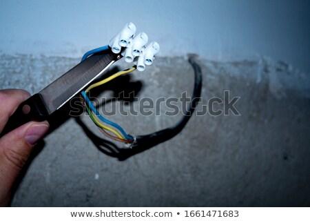 Stock fotó: Villanyszerelő · kínos · arc · férfi · fekete · erő