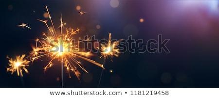 yanan · havai · fişek · beş · doğum · günü · pastası · bir · el - stok fotoğraf © stocksnapper