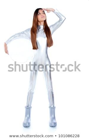 Astronaut futuristic silver woman glass helmet stock photo © lunamarina