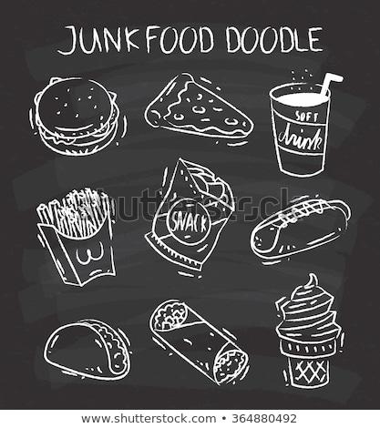 Komik sosisli sandviç tahta vektör karikatür sosisli sandviç Stok fotoğraf © pcanzo