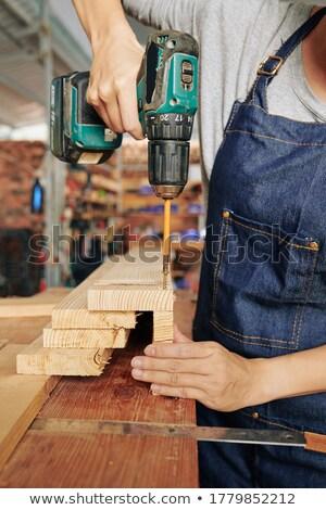 плотник дрель доска древесины строительство инструментом Сток-фото © photography33