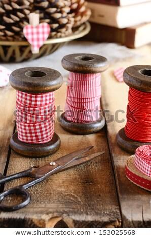 Spool of red heart ribbon Stock photo © david010167