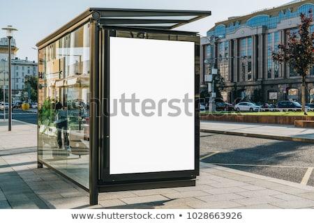 bushalte · banners · geïsoleerd · witte · 3d · render · metaal - stockfoto © lightsource