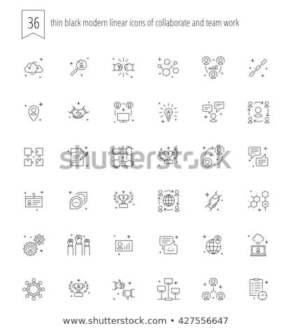 szervező · kommunikáció · kapcsolat · ikonok · vektor · ikon · gyűjtemény - stock fotó © m_pavlov
