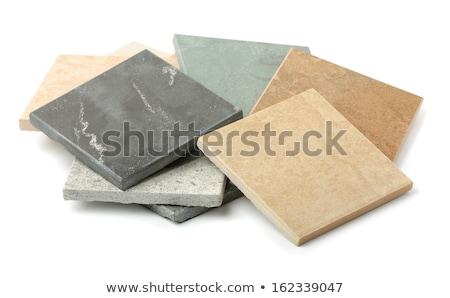 Brown pattern floor tile isolated on white  Stock photo © JohnKasawa