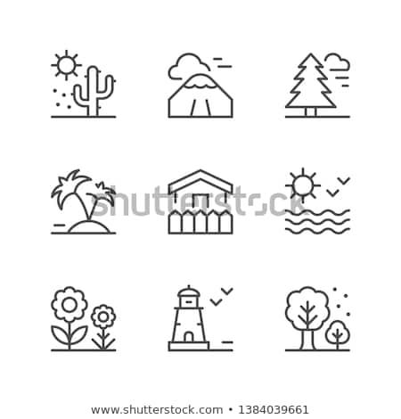 ベクトル · アイコン · 島 · 地球 · 工場 · ヤシの木 - ストックフォト © zzve