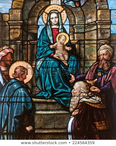 Rajongás festett üveg ablak kép középkori panel Stock fotó © Snapshot