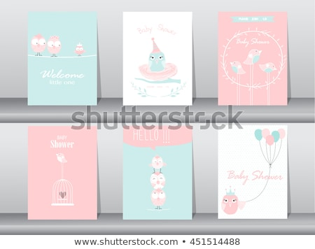 welcome baby card with funny little bird stock photo © balasoiu