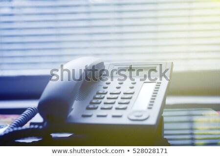 Voip telefono vetro desk moderno piedi Foto d'archivio © gewoldi