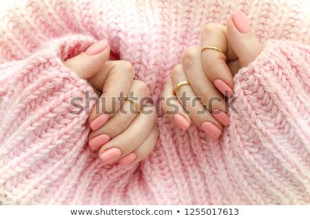 Roze nagellak witte mode fles vrouwelijke Stockfoto © magraphics