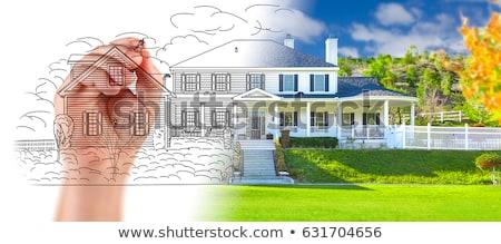 çizim yeni ev el ev kroki beyaz Stok fotoğraf © snyfer