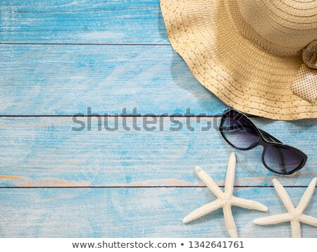 Stock photo: blue wooden beach floor green sea shell