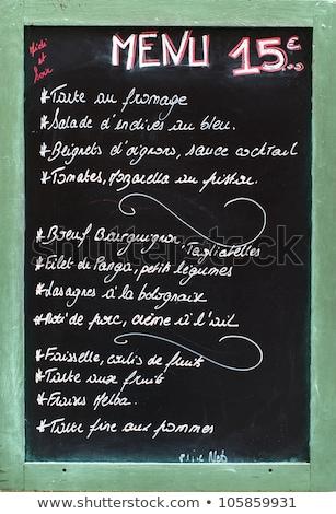 レストラン · 黒板 · メニュー · 書かれた · 白 · チョーク - ストックフォト © vankad