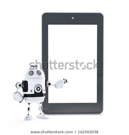 Robot with touch screen tablet pc with blanc screen Stock photo © Kirill_M