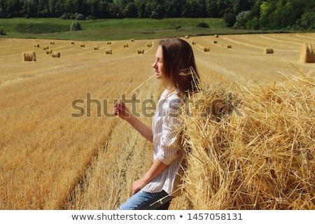 Stok fotoğraf: Genç · güzel · kadın · saman · üç · çekici