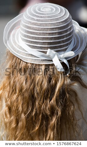 little, blond hair girl in hat ironing Stock photo © Aikon